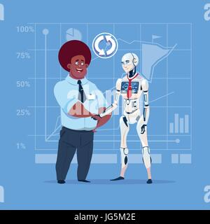 African American Business Man And Modern Robot Shaking Hands Artificial Intelligence Cooperation Concept - Stock Photo