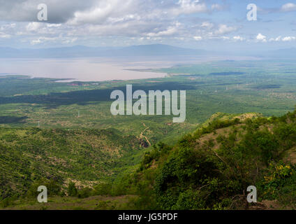 Panoramic view the power line coming from Gibe dam and going to Kenya, Gamo Gofa Zone, Ganta, Ethiopia - Stock Photo