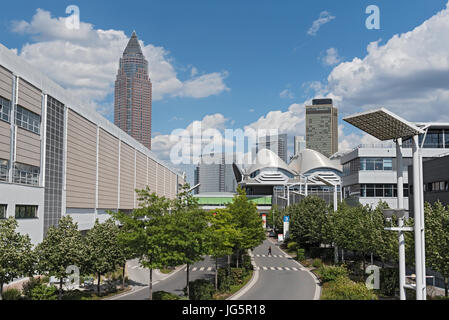 Messeturm frankfurt with the following exhibition grounds - Stock Photo