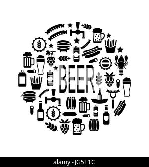 Illustration Black Icons of Beer and Snacks in Round Frame, Isolated on White Background - - Stock Photo