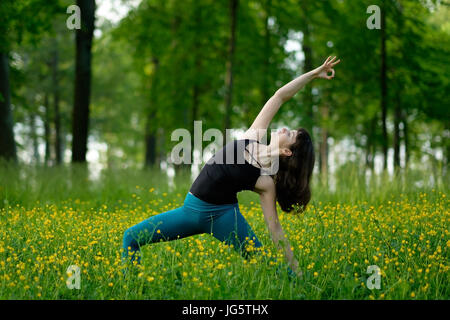 Young woman doing yoga on a green forest. - Stock Photo
