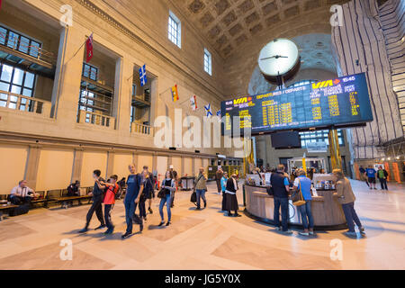 Toronto, Canada - 26 June 2017: information booth with schedule at Union Station - Stock Photo