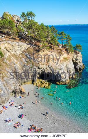 France, Brittany, Finistere, Crozon. Plage de l'ile Vierge beach (Pointe Saint-Hernot), Presqu'ile de Crozon, Parc - Stock Photo