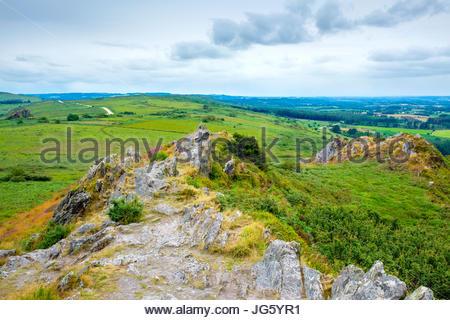 France, Brittany, Finistere, Plouneour-Menez. View from Roc'h Trevezel in the Monts d'Arree, Parc naturel regional - Stock Photo