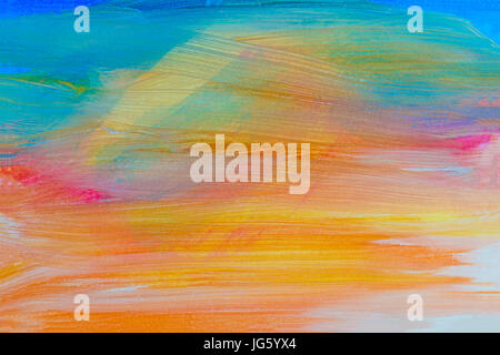 Brushed art work using the colors of the rainbow - Stock Photo