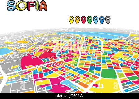 Sofia, Bulgaria, Downtown 3D Vector Map of Famous Streets. Bright foreground full of colors. White Streets, Waterways - Stock Photo