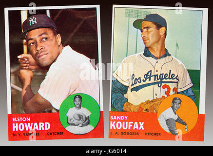 NY Yankee Elston Howard and LA Dodger Sandy Koufax were the 1963 MVP award winners.  They both wore the number 32. - Stock Photo