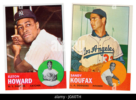 NY Yankee Elston Howard and LA Dodger Sandy Koufax were the MLB 1963 MVP award winners.  They both wore the number - Stock Photo