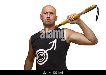 Young handsome man with gymnastic stick. Isolated on white background - Stock Photo