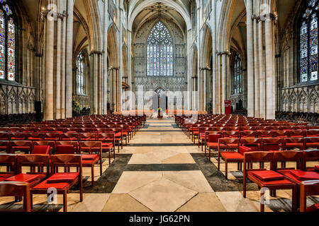 Nave and Great West Window, York Minster (The Cathedral and Metropolitical Church of Saint Peter), York, Yorkshire, - Stock Photo