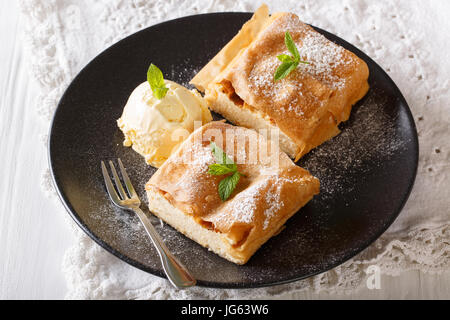 Two pieces of strudel with cottage cheese, and vanilla ice cream close-up on a plate. horizontal - Stock Photo