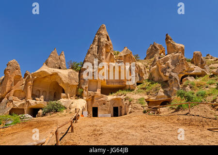Occupied cave dwellings at Goreme National Park, Cappadocia, Turkey - Stock Photo