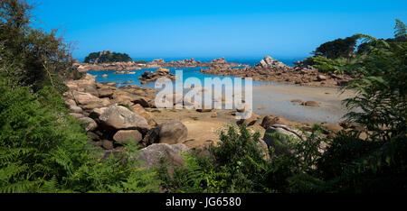 Saint Guirec beach in Brittany - Stock Photo