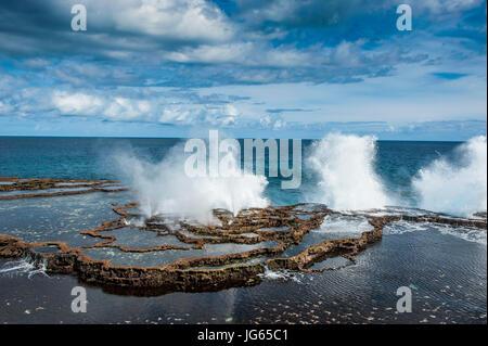 Mapu'a 'a Vaea Blowholes, Tongatapu, Tonga, South Pacific - Stock Photo