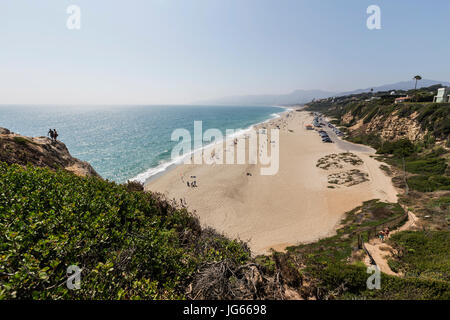 Malibu, California, USA - June 29, 2017:  View of popular Westward Beach from Point Dume State Park. - Stock Photo