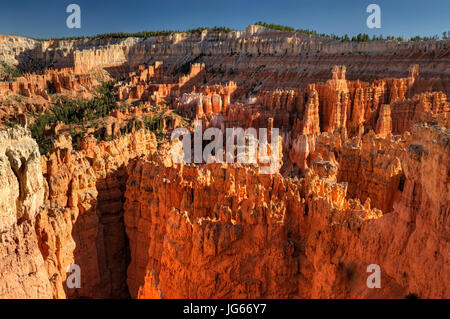 The view from Sunset Point at sunset, Bryce Canyon National Park, Utah - Stock Photo