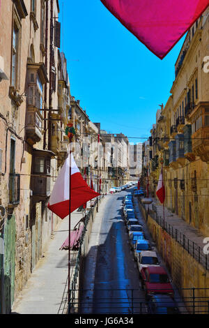 alleyway in old town Valletta Malta - Stock Photo