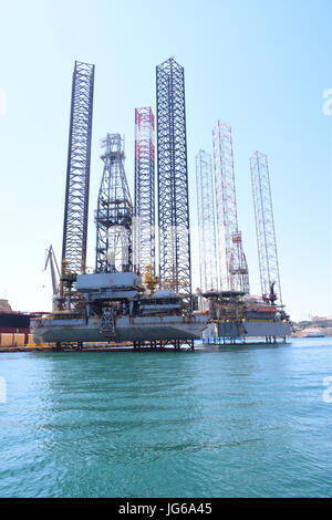 Ocean going Oil Drilling Rig moored in Harbor, Valletta Malta