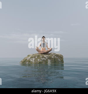 Young woman doing yoga on a rock in the sea. This is a 3d render illustration - Stock Photo