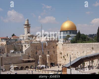 Jerusalem, Israel - 02 June, 2017: The sacred religious sites of the Western Wall and the Dome of the Rock - Stock Photo