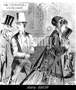 Digital improved:, Pickpocketing, larceny, the stealing of money, illustration from the 19th century - Stock Photo