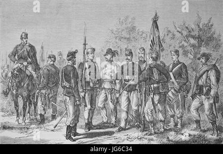 Digital improved:, The new uniform of the Austrian Infantry army, soldiers, army, Austria, illustration from the - Stock Photo