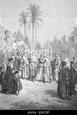 Digital improved:, The Reconciliation of Jacob and Esau, biblical scene, Esau and Jacob reconcile, illustration - Stock Photo
