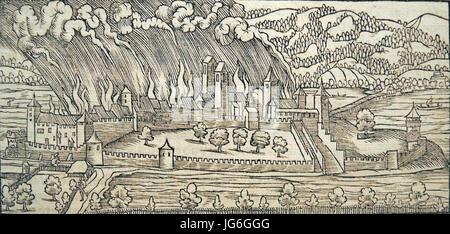 Rapperswil - Zerstörung 1350 - Chronik Stumpf 1547-48 - Stock Photo