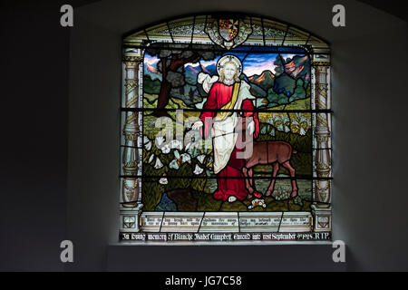 Stain glass window in All Saints' Church, 'Cathederal of the Canals' in Braunston, Northamptonshire, UK - Stock Photo