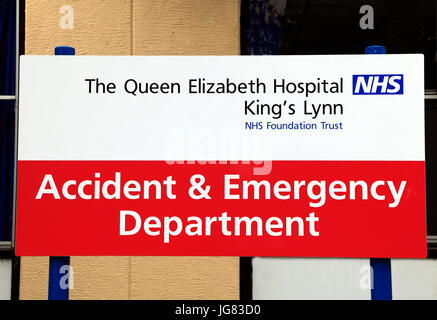 Sign for an nhs hospital emergency department and urgent care queen elizabeth hospital kings lynn accident emergency department sign english sciox Image collections