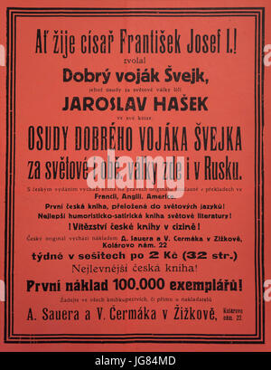 Promotional poster for the first edition of the satirical novel The Good Soldier Švejk by Czech novelist Jaroslav - Stock Photo