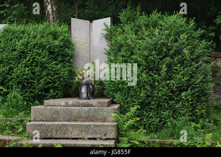 Grave of Czech novelist Jaroslav Hašek at the village cemetery in Lipnice nad Sázavou in Vysočina Region, Czech - Stock Photo