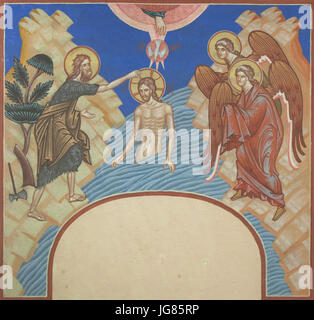 Baptism of Christ. Design by Russian artist Ivan Bilibin for mural paintings in the Dormition Church at the Olšany - Stock Photo