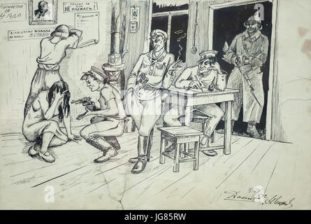 Interrogation in the OGPU (secret police of the Soviet Union from 1923 to 1934) depicted in the caricature by Ukrainian - Stock Photo
