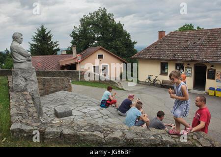 Tourists in front of the Jaroslav Hašek Museum (Památník Jaroslava Haška) in Lipnice nad Sázavou in Vysočina Region, - Stock Photo