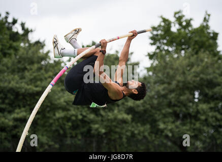 Ratingen, Germany. 25th June, 2017. Basile Rolnin from France during the pole vaulting discipline of the men's decathlon - Stock Photo