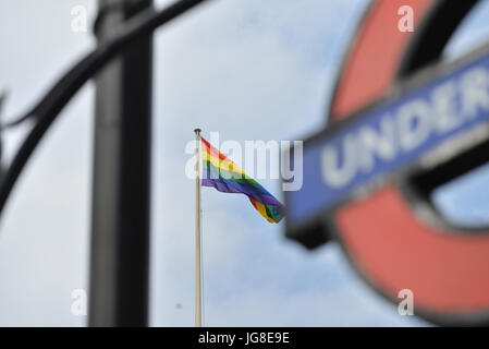 Westminster, London, UK. 4th July, 2017. Rainbow flags for Pride 2017, flying above Government buildings in Westminster. - Stock Photo