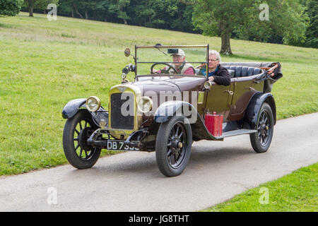 Classic, collectable restored vintage vehicles arriving for the Mark Woodward Event at Leighton Hall, Carnforth, - Stock Photo