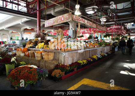 A greengrocer's stall at Jean-Talon Market in the Little Italy district of Montreal, Canada. - Stock Photo