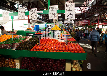 A greengrocer's stall at Jean-Talon Market in the Little Italy district of Montreal, Canada. The public market opened - Stock Photo