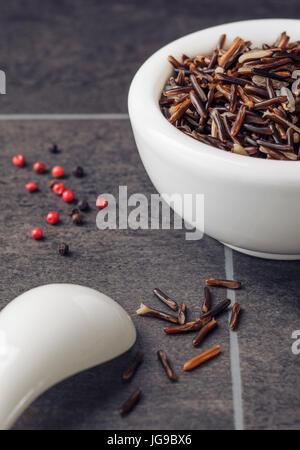Wild Rice in white bowl - Stock Photo