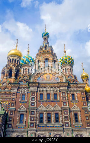 Onion domes of Church of the Resurrection of Christ, also known as Church on the Savior of Spilled Blood, St. Petersburg - Stock Photo
