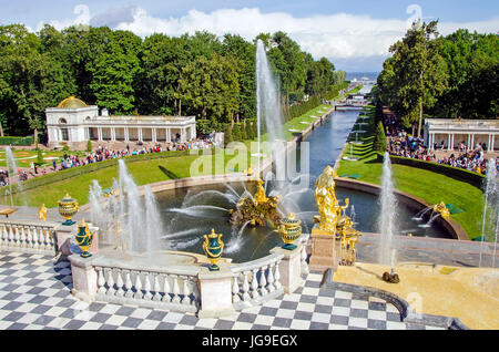 Peterhof Palace Grand Cascade with fountains and gardens in summer located near Saint Petersburg, Russia - Stock Photo