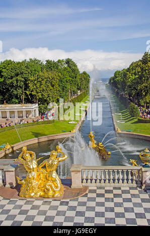 Peterhof Palace Grand Cascade with fountains  and gardens in summer  near Saint Petersburg, Russia - Stock Photo