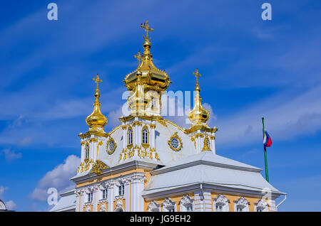 Peterhof Palace Gilded  domes of the church at the Grand Palace located near Saint Petersburg, Russia - Stock Photo