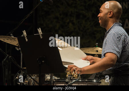 Rome, Italy. 03rd July, 2017. The saxophone tenor performed live on the stage of the Casa del Jazz in Rome in the - Stock Photo