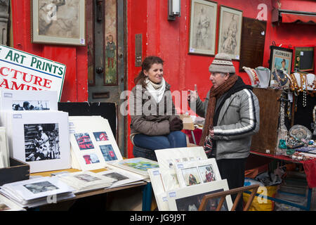 Beautiful cards for sale in the Portobello market near Notting Hill Gate London - Stock Photo