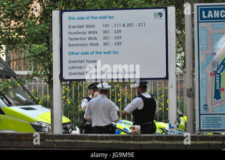 London, UK. 17th June, 2017. Grenfell Fire Disaster, Location of council flats, Signpost for Grenfell Estate. Contributor - Stock Photo