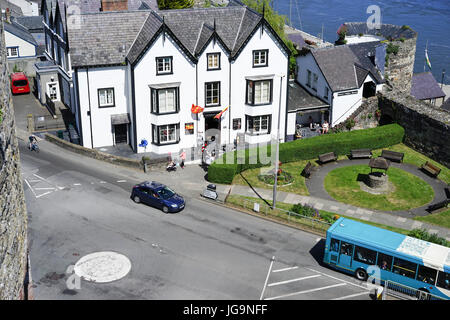Looking down from the ramparts of Conwy Castle towards the harbour,Conwy, Gwynedd, North Wales, UK. - Stock Photo