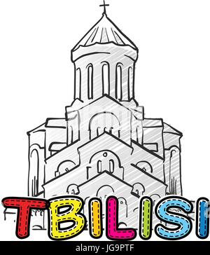 Tbilisi beautiful sketched icon, famaous hand-drawn landmark, city name lettering, vector illustration - Stock Photo